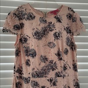 Betsey Johnson pink lace fully lined midi dress 14